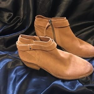Dolce Vita Leather Suede Booties Tan Size 7